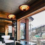 LOVEHOUGE Parasol chauffant électrique à suspendre, montage au plafond, chauffage rapide, protection contre la surchauffe, basculement