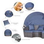 Outsunny Lit canapé de Jardin modulable Grand Confort Pare-Soleil Pliable 5 Coussins 3 oreillers 180L x 175l x 147H cm résine tressée Grise Polyester Bleu