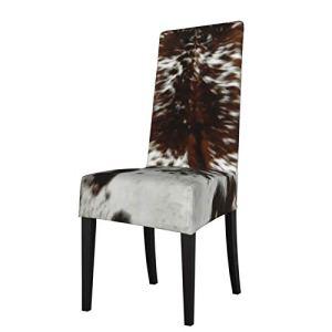 Uliykon Housse de chaise de salle à manger extensible en cuir de vache marron avec imprimé élasthanne élastique amovible et lavable pour salle à manger, cuisine, hôtel, cérémonie, fête