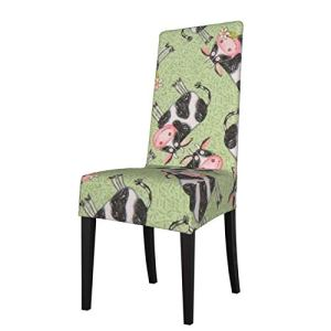 Uliykon Housse de chaise de salle à manger extensible, motif vache, vert, élastique, amovible, lavable, housse de protection pour chaise de salle à manger, cuisine, hôtel, cérémonie, fête