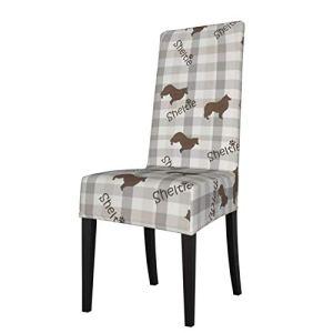 Uliykon Sheltie Housse de chaise de salle à manger extensible en élasthanne, amovible et lavable, pour salle à manger, cuisine, hôtel, cérémonie, fête
