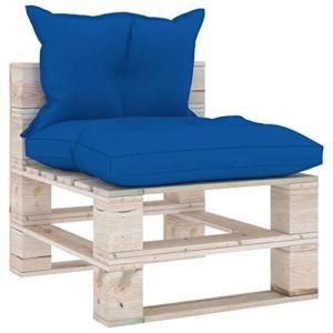 vidaXL Bois de Pin Canapé de Milieu Palette de Jardin avec Coussins Canapé d'Extérieur Meuble de Jardin Patio Terrasse Salon Intérieur