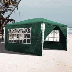 Vingo Pavillon de jardin étanche avec 4 parois latérales pour fêtes, festivals, stands d'exposition 3×4 m mit 4 Seitenteilen vert
