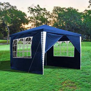 wolketon Tonnelle 3x3m Tente Imperméable Tonnelle de Jardin Gazebo Pavillon de Jardin Tente de Reception avec 4 Parois Latérales pour Jardin Fête Camping Festival, Bleu