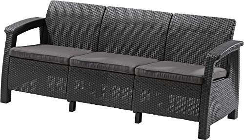 ALLIBERT 223211Corfu II Max Love Seat Canapé de Jardin, Graphite/Gris Clair, 182x 70x 79cm