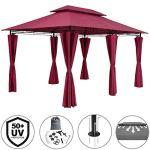 Casaria Tonnelle de Jardin Topas 3×4 m Rouge Tente de réception avec Toile Hydrofuge Pavillon pergola 2,60 m Mobilier extérieur