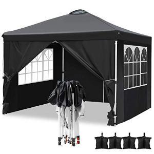 Hikole Tonnelle de Jardin Tente Pliante imperméable 3x3m Tente Reception avec 4 Sacs de Poids et 4 côtés