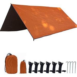 HXSD 3x3m auvent imperméable bâche Tente de bâche ombragée de Jardin Ultra-léger auvent par Rayon de Soleil de Camping extérieur hamac Pluie Fly plongée Soleil abri,Orange,Square Tarpaulin
