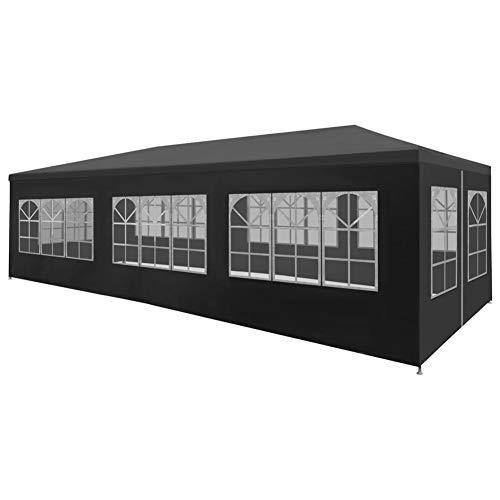Tente de Réception, Pavillon de Jardin Tonnelle de Jardin avec Panneaux Latéraux pour Jardin Cour Patio Terrasse Fête, 9 x 3 x 2,55 m