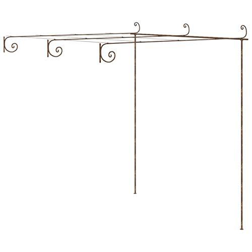 Tidyard Arche de Rosiers Arche de Jardin Pergola de Jardin Marron Antique 3x3x2,5 m Fer