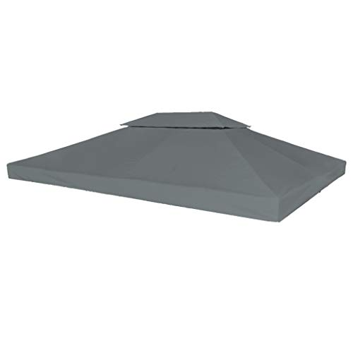 Tidyard Auvent de Remplacement 2 Niveaux avec Revêtement de PVC (imperméable à l'eau) Anthracite 310 g/m² 4 x 3 m