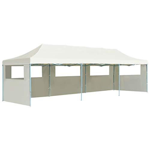 vidaXL Tente de Réception Pliable 5 Parois 3×9 m Blanc Cassé Jardin Tonnelle