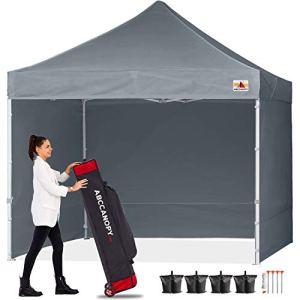 ABCCANOPY 18+ Couleurs 2,4m par 2,4m EZ Pop Up Auvent Tente Commercial Instant Jardin avec 4Panneaux latéraux Amovibles et Sac à roulettes et Sac de 4x Poids 8ft by 8ft Gris