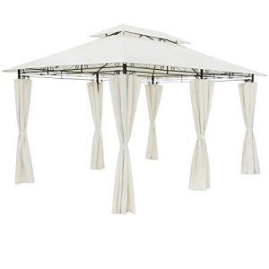 Casaria Tonnelle de Jardin Topas 3×4 m crème Tente de réception avec Toile Hydrofuge Pavillon pergola 2,60 m Mobilier extérieur