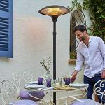 FAVEX – Parasol Chauffant électrique Milan Noir – Extérieur – 3 puissances de Chauffe – Économique – Résistant – 60 x 60 x 205 cm