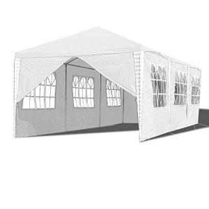 Hengda 3x9m pavillon étanche Tente de fête Tente de Jardin Protection UV , matériau de chapiteau de Haute qualité , avec 8 Panneaux latéraux matériau bâche PE pour fête de Festival de Jardin
