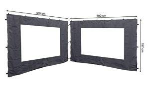 Quick-Star Lot de 2 Panneaux latéraux en PVC pour pavillon de Remerciement Anthracite 3 x 4 m