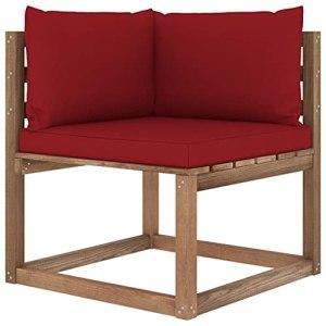 vidaXL Canapé d'angle Palette de Jardin avec Coussins Canapé d'angle de Patio Meuble de Terrasse Canapé d'Extérieur Arrière-Cour Rouge Bordeaux