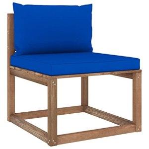 vidaXL Canapé de Milieu Palette de Jardin avec Coussins Canapé de Milieu de Patio Meuble de Terrasse Canapé d'Extérieur Arrière-Cour Bleu