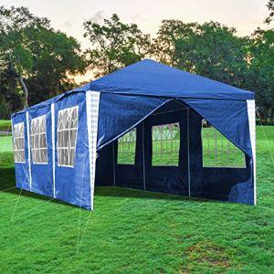 wolketon Tonnelle 3x9m Tente Imperméable Tonnelle de Jardin Gazebo Protection UV Pavillon de Jardin Tente de Reception avec 8 Côtés, Bleu