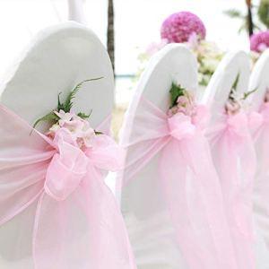 CCSimple 100PCS Nubans en Organza Housse de Chaise Nœuds Rubans Nœuds de Mariage Décoration de Ceremonie Fête Anniversaire 18 x 275cm (Rose clair)