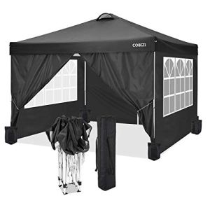 COBIZI 3x3m Tonnelle de Jardin Tente Pliante imperméable Tente Reception (Noir, 3x3M +4 côtés +4 Sacs de Poids)