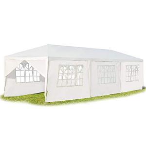 GOPLUS Tonnelle Tente de Jardin avec Fenêtres,Tente de Réception Protection Contre Soleil et Pluie,Chapiteau Pliable Gazebo Pliant pour Événement Bière Fête Camping 3x9M, Blanc (8 Morceau de Tissu)