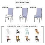 MJJLDMM Housse de Chaise Bleu Couverture de Chaise Extensible Amovible Lavable élastique Très Facile à Nettoyer et Durable,pour Salle à Manger Hôtel,Décor de Restaurant (Fleurs Blanches, 6 Pièces)