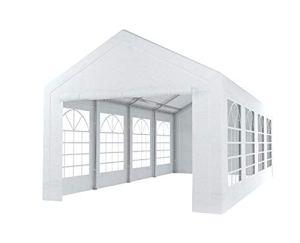 Tente de réception 4x8m Semi Professionnelle 180 GR/m² PE Blanc tonnelle de Jardin
