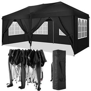 TOOLUCK 3x6m Tonnelle de Jardin Tonnelle Pliante Imperméable Tentes de Reception Gazebo de Jardin avec 4 Côtés, UV Protection (3x6m avec 6 Côtés, Noir)