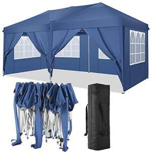 TOOLUCK 3x6m Tonnelle de Jardin Tonnelle Pliante Imperméable Tentes de Reception Gazebo de Jardin avec 6 Côtés, UV Protection (3x6m avec 6 Côtés, Bleu)
