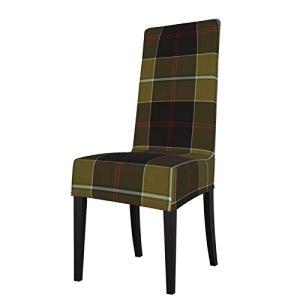 Uliykon Dunlop Housse de chaise de salle à manger extensible pour chaise de chasse Tartan Spandex élastique amovible lavable Housse de protection pour salle à manger, cuisine, hôtel, cérémonie, fête