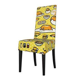 Uliykon Gudetama Housse de chaise de salle à manger extensible en élasthanne élastique amovible lavable Housse de protection pour chaise de salle à manger, cuisine, hôtel, cérémonie, fête