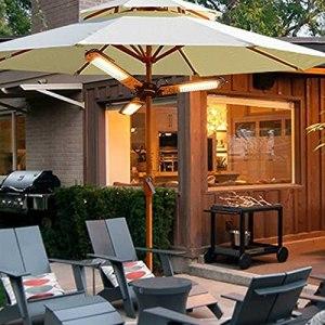 WANGXIAO Extérieur Chauffage Infrarouge,Garden Parasol Chauffant Ip34 Imperméable avec Protection Contre La Surchauffe 3 Paramètres d'alimentation,2000w