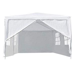CHENQIAN 3 x 6 m extérieur Gazebo auvent Tente de fête Patio Tente de Mariage Robuste Blanc 3 x 6 m/9,84 x 19,69 pi