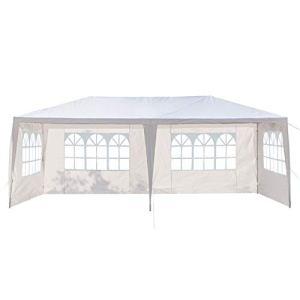 Gazebo extérieur de Tente d'auvent de 3 x 6 m Pieds pour la Tente de Gazebo de Mariage de Partie, Tente imperméable de Quatre côtés avec des Tubes en Spirale Blanc