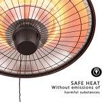 HOLITU Lampe Chauffante Exterieur,Parasol Chauffant Chauffage Radiant Suspendu ip24 Imperméable 3 paramètres d'alimentation (900w/1200w/2100w),Noir