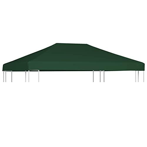 LONGMHKO Vie en extérieur Toile supérieure de belvédère 310 g/m² 4 x 3 m Vert Poids du Tissu : 310 g/m²