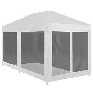 LUYIPINGQIWND Couleur : Blanc et Noir Vie en extérieur Tente de réception avec 6 parois en Maille 4 x 3 m