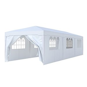 Paramondo Tonnelle de Jardin 3 x 9 m INCL. 1x Porte latérale 7X fenêtre latérale, Blanc
