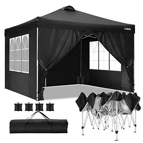 Tonnelle de Jardin 3×3 m Tonnelle Pliante Chapiteau Pliable Gazebo Pliant Tente de Reception avec Toit ventilé, 4 Sacs de Sable (Noir)