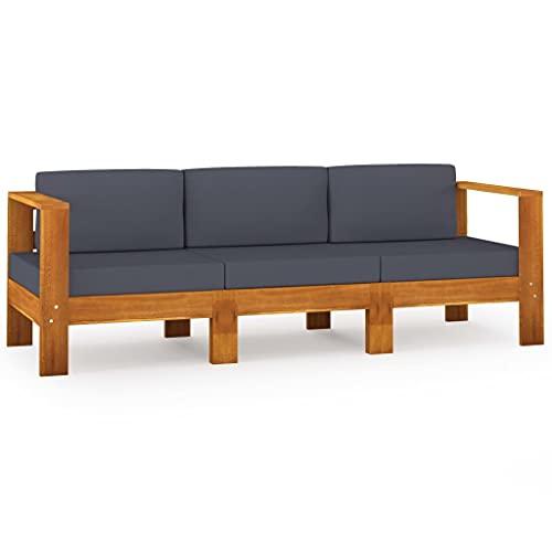 vidaXL Acacia Massif Canapé de Jardin 3 Places et Coussins Sofa de Terrasse Canapé d'Extérieur Sofa de Jardin Meuble de Terrasse Gris Foncé