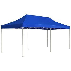 vidaXL Tente de Réception Pliable Pavillon de Jardin Chapiteau de Jardin Tonnelle Pare-Soleil Imperméable Protection Contre UV Extérieur 6×3 m Bleu