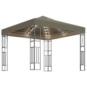 vidaXL Tonnelle avec Guirlande Lumineuse Belvédère de Jardin Pavillon d'Extérieur Tente de Réception Chapiteau Barbecue 3×3 m Taupe Tissu