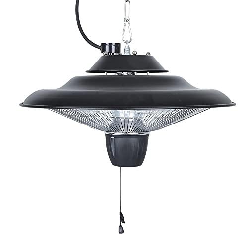 VIY Parasol Chauffant de terrasse Suspendu radiateur Infrarouge Plafonnier LED intégré Utilisation en extérieur Couleur Noir 1500 W
