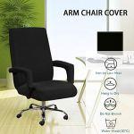 ZSooner Housse de chaise de bureau avec accoudoir – Résistante à la poussière – Souple – Protection épaisse – Universelle – Extensible – Antidérapante – Couleur unie – Amovible – XL – Noir