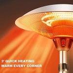 Appareils de Chauffage Extérieur Parasol Chauffant Réchauffeurs de tubes en fibre de carbone infrarouges réglables en hauteur pour chauffe-jardin avec protection contre la surchauffe, étanches