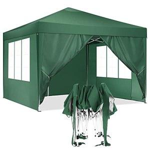 HOTEEL 3x3m Tonnelles Jardin Tente de Reception Imperméable Tonnelle Pliante Pavillon de Jardin avec 4 Côtés, Résistant aux UV, Vert