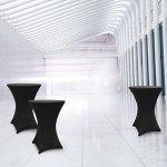 Lumaland Housse pour Table Haute de Reception Ronde  Nappe pour Mange-Debout   Protection Table Cocktail   Ø 70-75cm Noire
