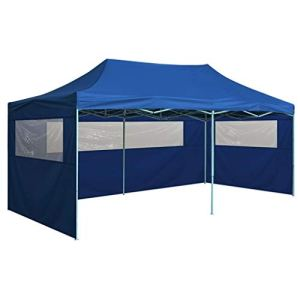 Susany Tente de Réception Pliable avec 4 Parois Acier 3×6 m Bleu – Résistance aux UV et à l'eau – Conception Pliante